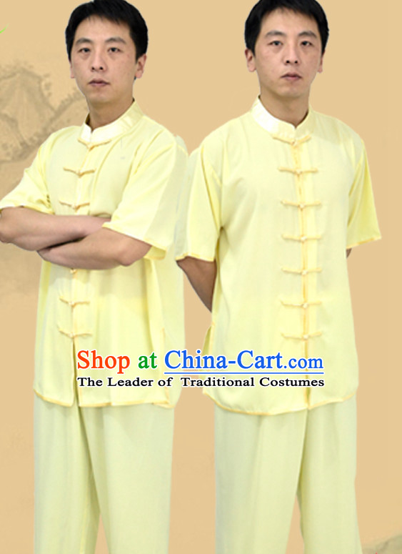 Top Yellow Kung Fu Outfit Martial Arts Uniform Kung Fu Training Clothing Gongfu Suits for Men Women Adults Children
