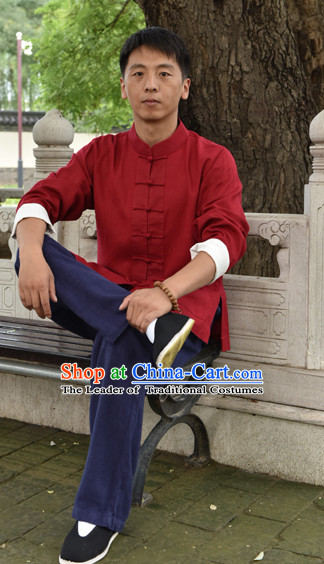 Top Mandarin Kung Fu Outfit Martial Arts Uniform Kung Fu Training Clothing Gongfu Flax Suits for Men Women Adults Children