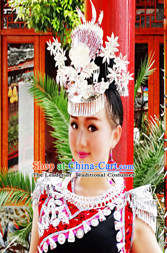 Chinese Miao Tribe Headwear Silver Hat