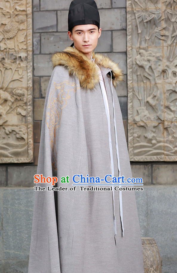 Chinese National Costumes Clothing and Hat Complete Set for Men