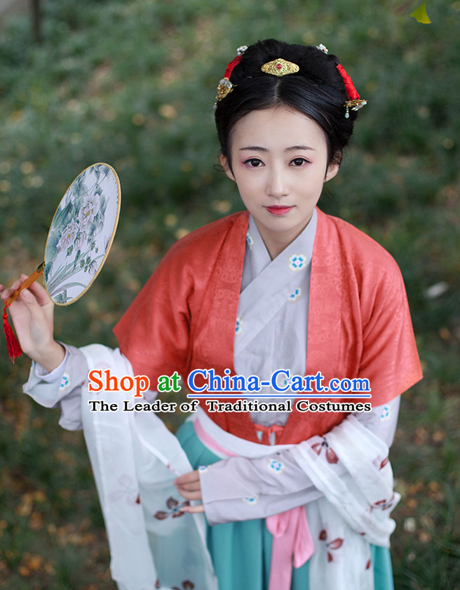 Chinese National Costumes Clothing and Headpieces Complete Set for Women