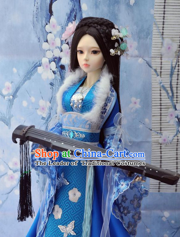 Ancient Chinese Style Dresses Princess Clothing Clothes Han Chinese Costume Hanfu and Hair Jewelry Complete Set for Women Adults Children