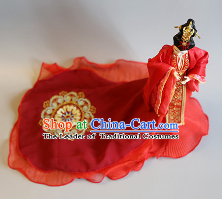 Ancient Chinese Imperial Royal Princess Empress Queen Hanfu Costumes and Hair Accessories Complete Set for Women Girls Adults Kids