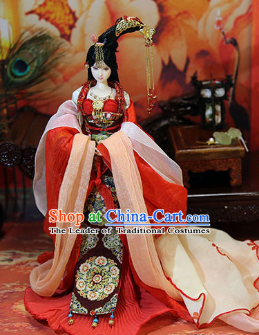 Ancient Chinese Palace Imperial Royal Princess Empress Queen Hanfu Costumes and Hair Accessories Complete Set for Women Girls Adults Kids