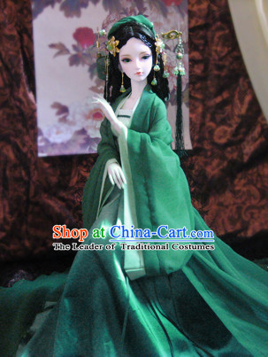 Ancient Chinese Green Lady Costumes and Hair Jewelry Complete Set for Women