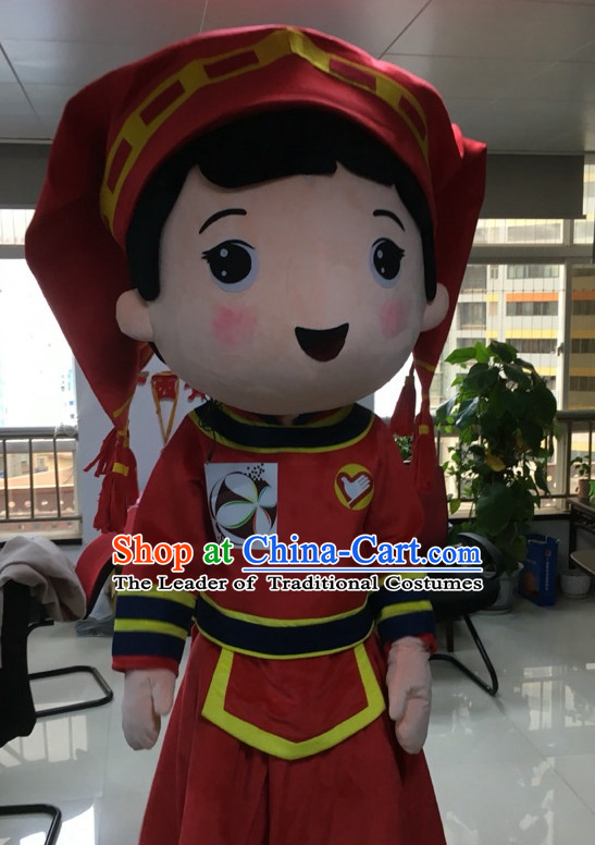 Free Design Professional Custom Mascot Uniforms Mascot Outfits Customized Commerical Chinese Ethnic Girl Mascots Costumes