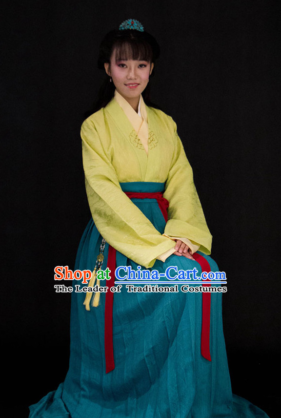 Chinese Style Dresses Kimono Dress Han Dynasty Empress Princess Queen Outfits and Headpieces Complete Set for Women