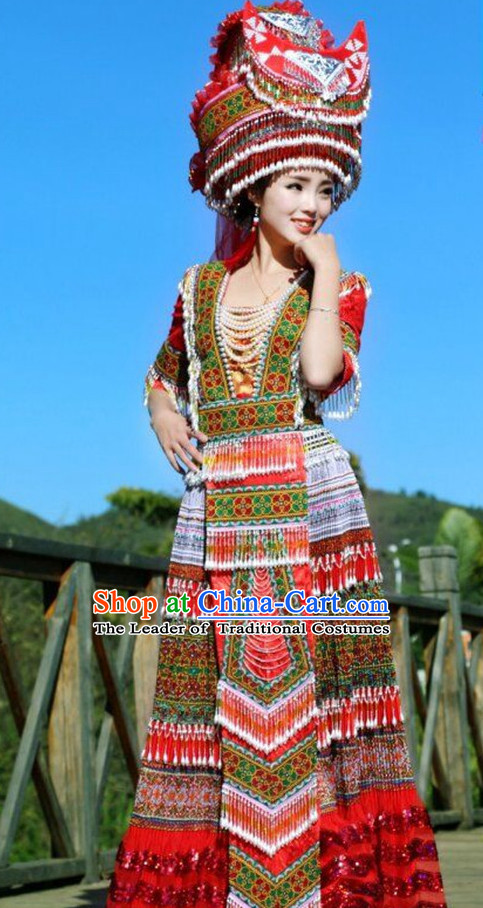 Chinese Traditional Miao Tribe Clothing and Hat Complete Set for Women