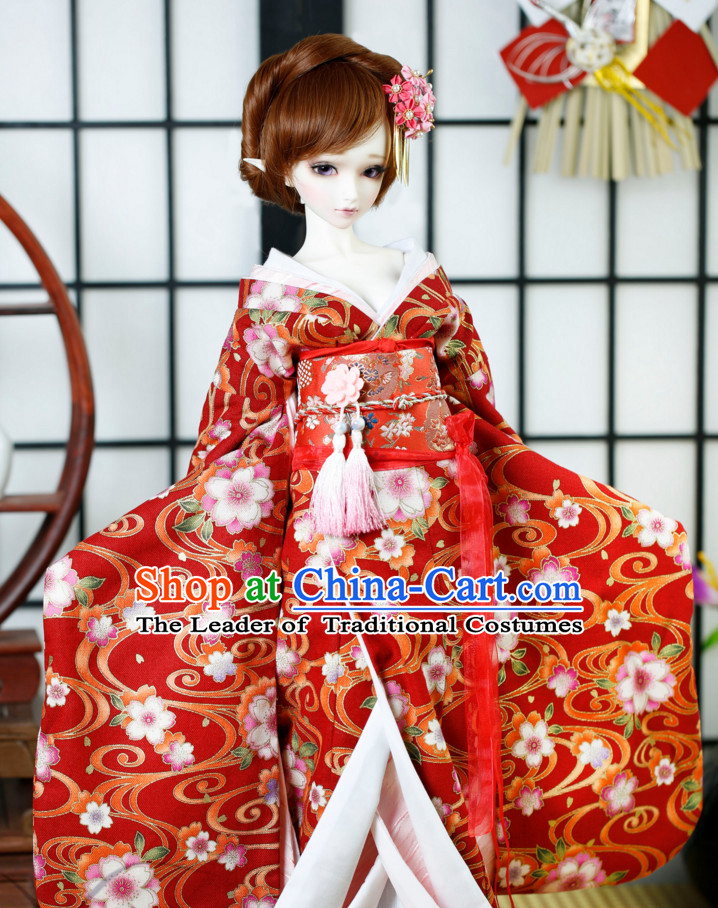 Japanese Traditional Kimono Clothes Complete Set for Women Girls Adults
