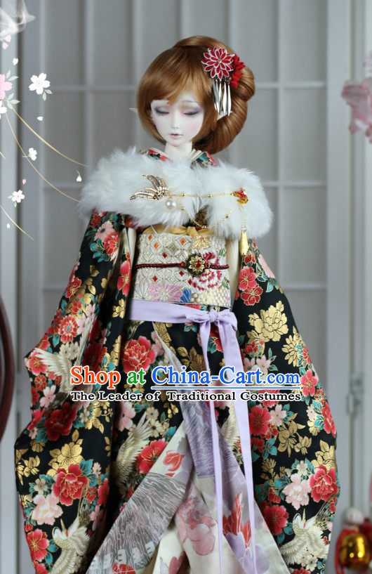 Japanese Traditional Princess Kimono Dress Complete Set for Women Girls Children Adults