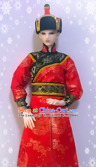 Chinese Ancient Mongolian Prince Clothing and Hat Complete Set for Men Boys Adults Children