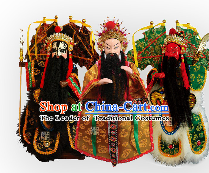 Traditional Chinese Ancient Handmade Liu Bei Zhang Fei Guan Yu Glove Puppets Hand Marionette Puppet Hand Puppets 3 Sets