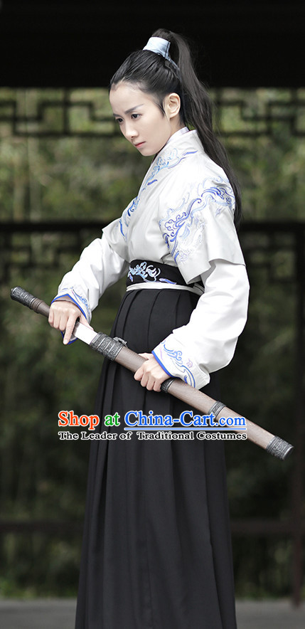 Ancient Chinese Han Dynasty Swordmen Costume Complete Set for Men or Women