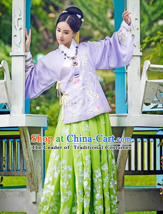 Ancient Chinese Ming Dynasty Princess Clothing and Headpieces Complete Set for Women or Girls