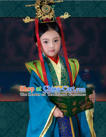 Chinese Ancient Han Dynasty Princess Empress Queen Clothing and Hair Accessories Complete Set for Women or Kids