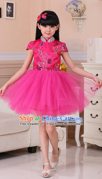 Chinese Traditional Lunar New Year Mandarin Dance Costumes for Girls Kids Children