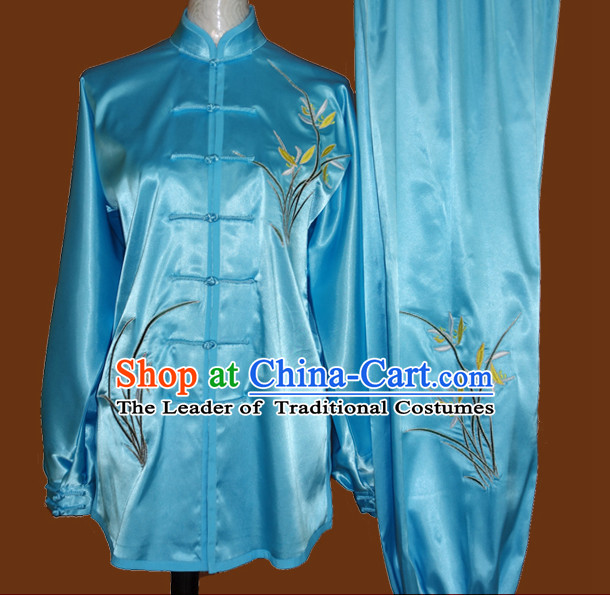Top Embroidered Mandarin Tai Chi Taiji Kung Fu Martial Arts Competition Uniform Dresses Suits Outfits for Adults