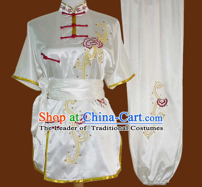 Top Tai Chi Taiji Kung Fu Gongfu Martial Arts Wu Shu Competition Uniforms Dresses Suits Outfits for Adults and Kids