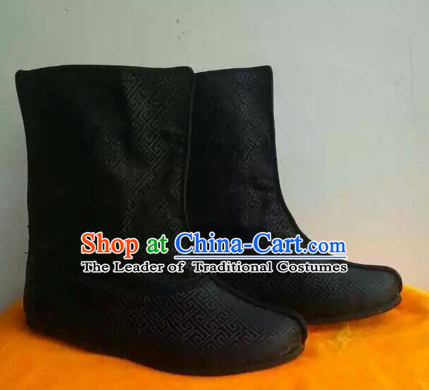 Asian Chinese Film Handmade Ancient Black Boots for Men Boys Adults Children