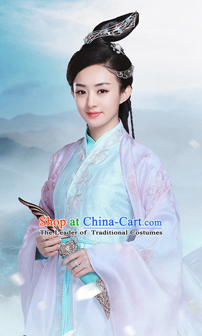 Ancient Chinese Fairy Costumes and Hair Jewelry Complete Set for Boys Kids Youth Children