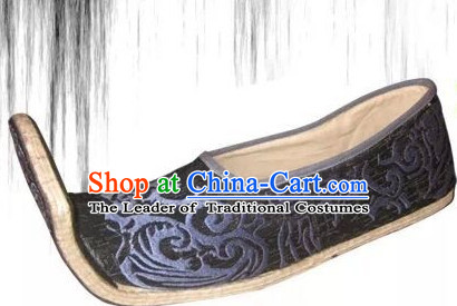 High Heel Handmade Ancient Traditional Chinese Male Emperor Handmade and Embroidered Hanfu Lotus Shoes China Shoes for Men or Boys