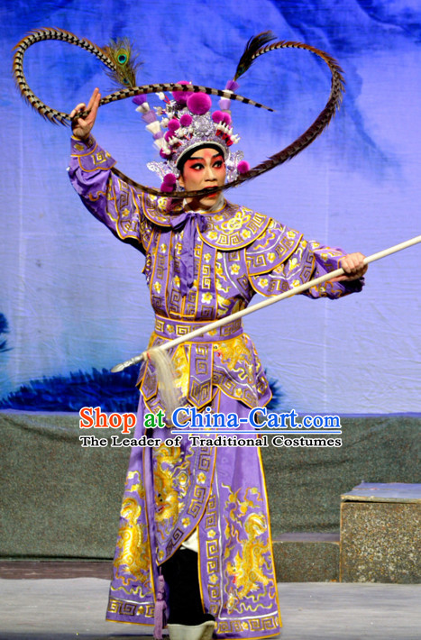 Chinese Ancient Peking Opera Wusheng Costumes and Headdress Complete Set for Men