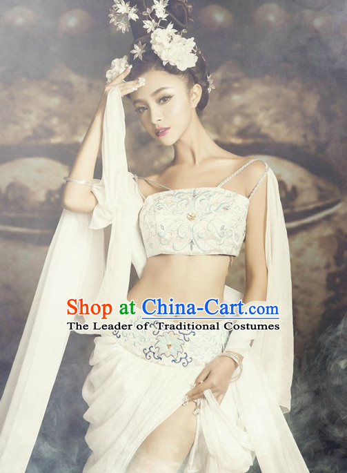 Chinese Ancient Fairy Costumes and Hair Accessories Complete Set for Women