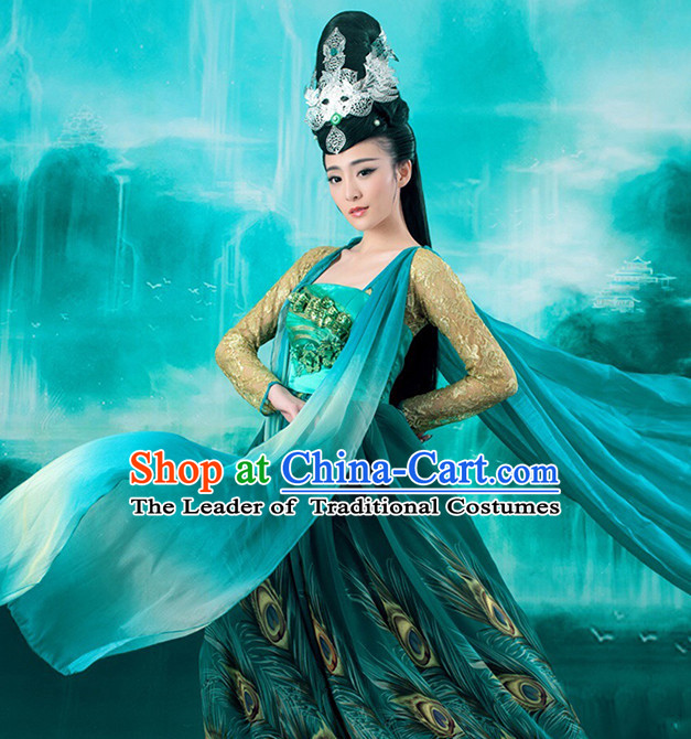 Chinese Ancient Peacock Princess Garment and Hair Accessories Complete Set for Women