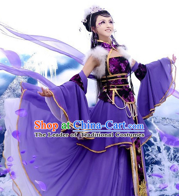 Chinese Ancient Purple Princess Cosplay Costume and Headdress Complete Set for Women