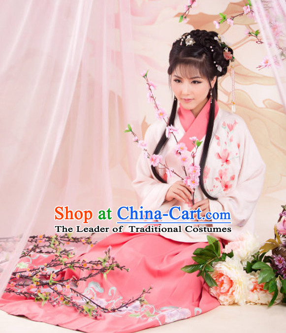 Chinese Ancient Song Dynasty Hanfu Dresses and Headdress Complete Set for Women