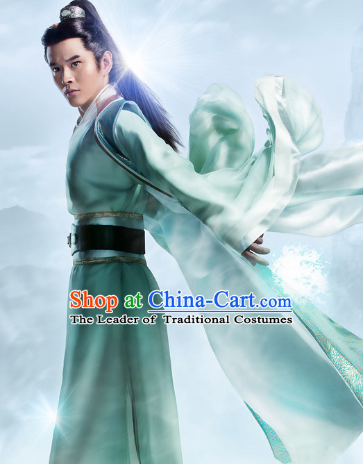 Chinese Ancient Swordsman Knight Costumes Complete Set for Men
