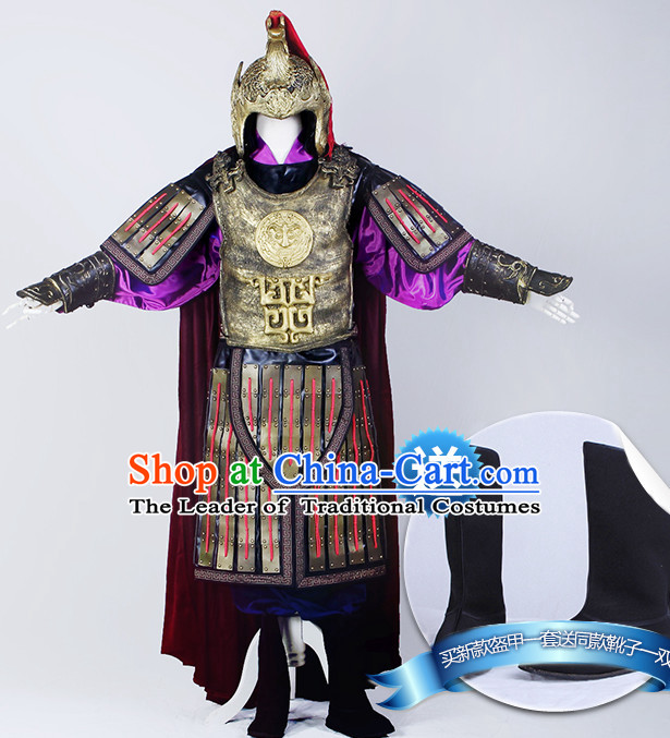 Chinese Ancient General Armor Costumes Complete Set for Men Youth Teenagers Kids
