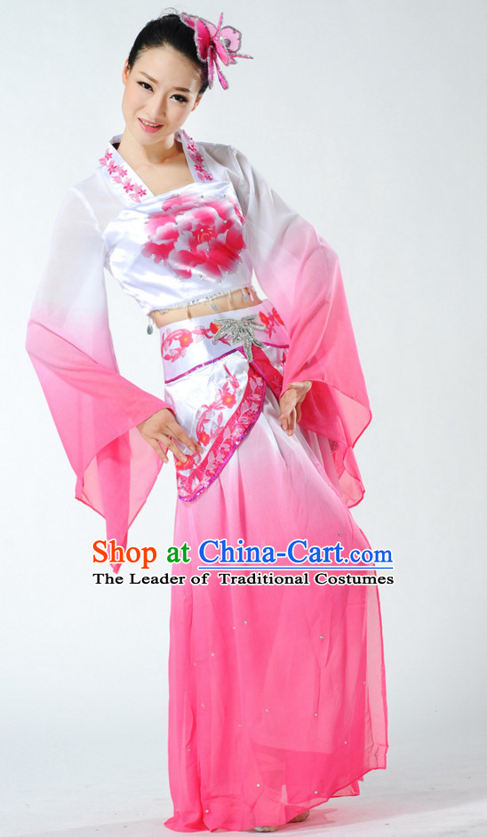 Chinese Classical Fan Dance Costume and Headdress Complete Set for Women