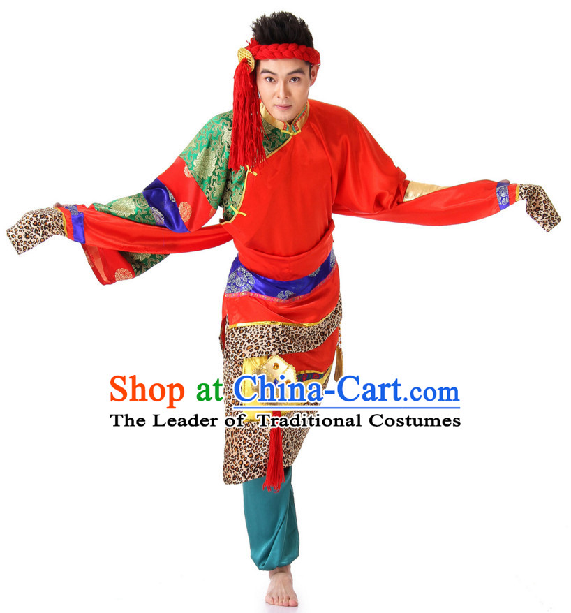 Chinese Traditional Ethnic Tibetan Group Dancing Costumes and Headdress Complete Set for Men
