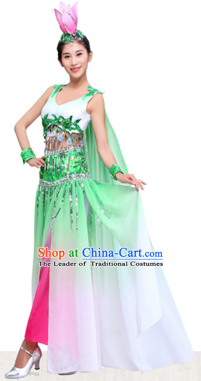 Chinese Folk Group Lotus Dance Costumes Dress online for Sale Complete Set for Women Girls Adults Youth Kids
