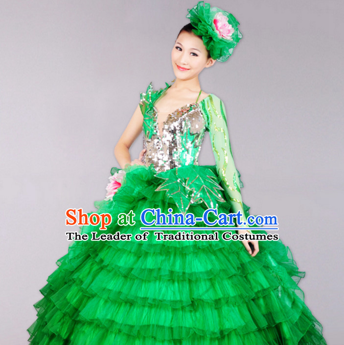 Chinese Classicial Dancing Costumes Dancewear and Headpieces Complete Set for Women