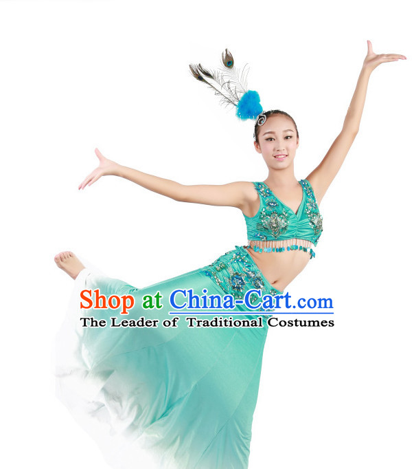 Chinese Traditional Folk Ethnic Peacock Dai Dance Costumes Dancewear and Headpieces Complete Set for Women