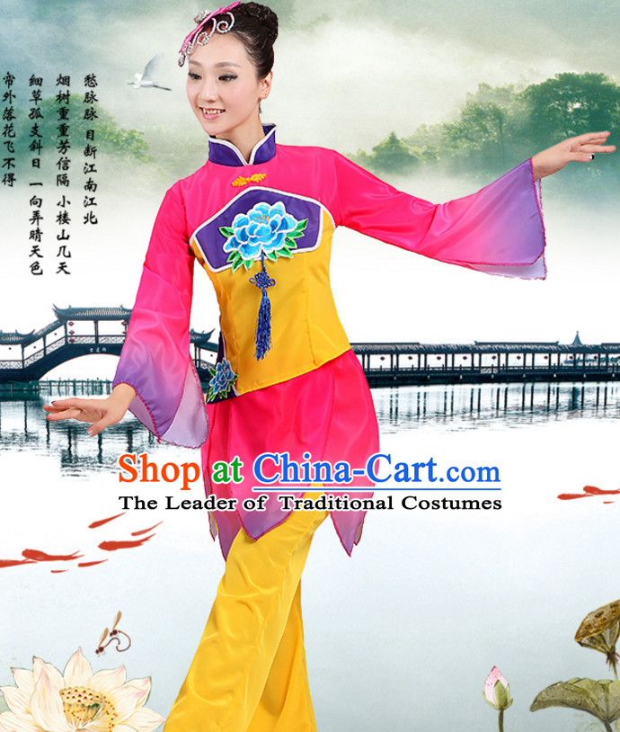 Chinese Traditional Fan Team Dancing Costumes and Headpieces Complete Set for Women