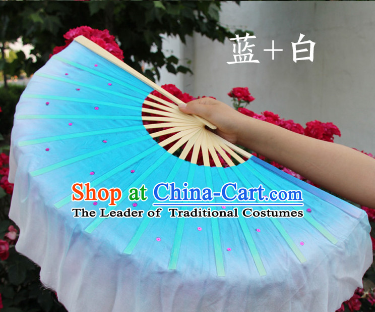 White and Blue Traditional Chinese Color Transition Pure Silk Dance Fan