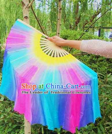 100_ Pure Silk Professional Dancing Fan for Women Men Adults