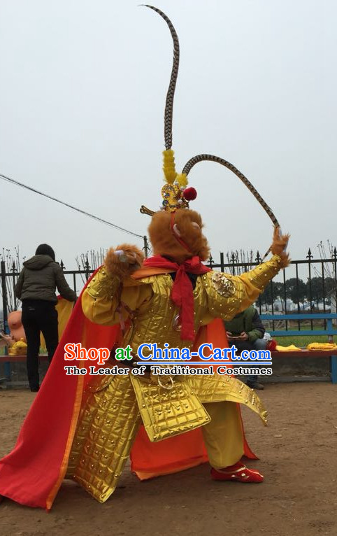 Gold Color Sun Wukong Costumes and Headdress Complete Set