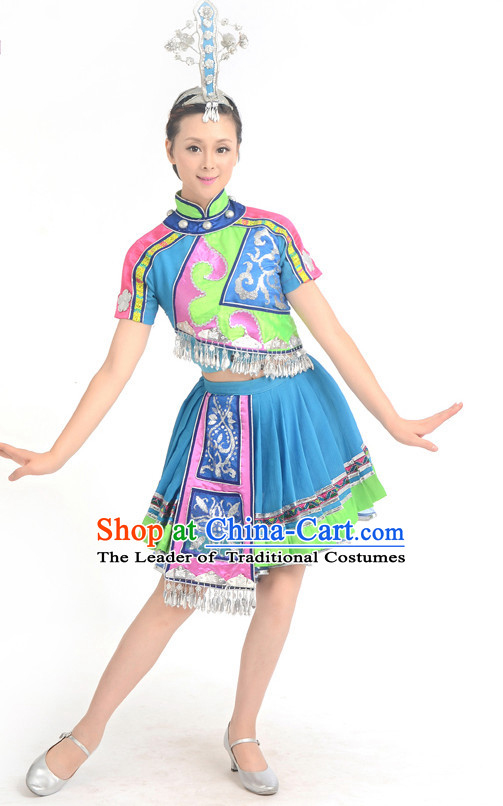 Traditional Chinese Ethnic Dance Costumes Custom Dance Costume Folk Dancing Chinese Dress Cultural Dances and Headdress Complete Set