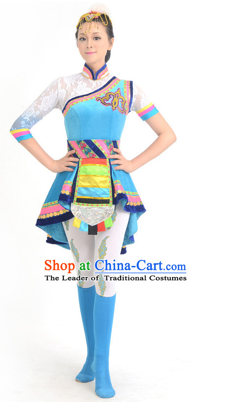 Traditional Chinese Ethnic Tibetan Dance Costumes Custom Dance Costume Folk Dancing Chinese Dress Cultural Dances and Headdress Complete Set