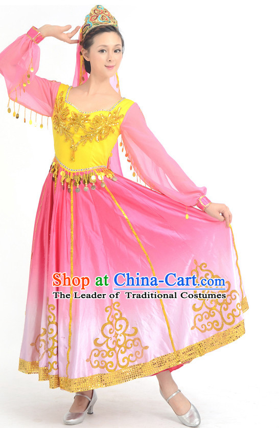 Traditional Chinese Ethnic Xinjiang Dance Costumes Custom Dance Costume Folk Dancing Chinese Dress Cultural Dances and Headdress Complete Set