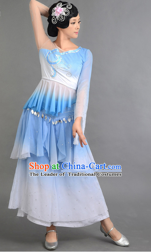 Traditional Chinese Classical Dance Costumes Custom Dance Costume Folk Dancing Chinese Dress Cultural Dances and Headdress Complete Set for Girls Kids Children