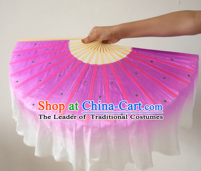 Professional Traditional Chinese Beijing Dance Academy Color Transition Pure Silk Dance Fan