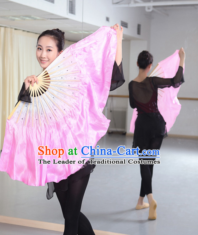 Professional Traditional Two Colors White to PInk Color Transition Pure Silk Dance Fan