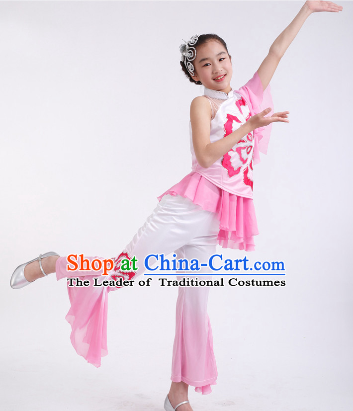 Chinese Competition Classic Dance Costumes Kids Dance Costumes Folk Dances Ethnic Dance Fan Dance Dancing Dancewear for Children