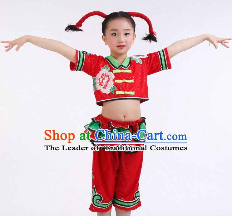 Chinese Competition Group Dance Costumes Kids Dance Costumes Folk Dances Ethnic Dance Fan Dance Dancing Dancewear for Children