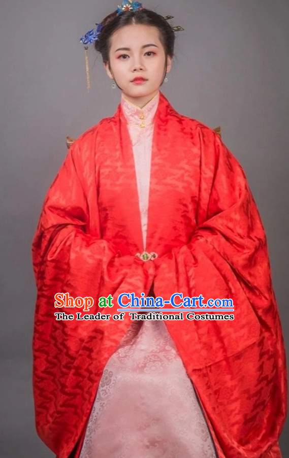 Ancient Chinese Wedding Bridal Clothing and Hat Complete Set for Women